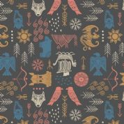Lewis & Irene - Viking Adventure - 6947 - Viking Motifs on Charcoal - A379.3 - Cotton Fabric